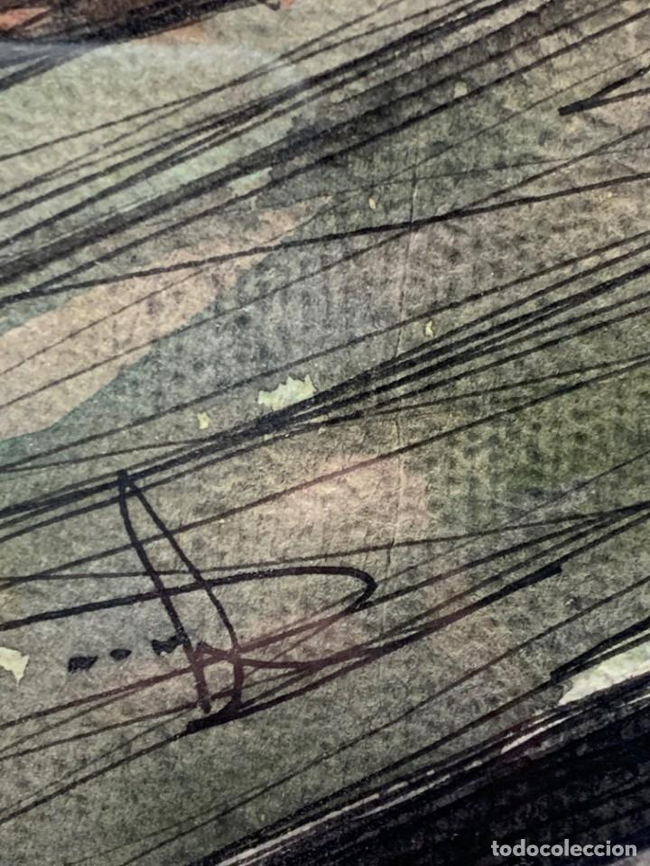 Arte: dibujo acuarela y tinta sobre papel firma montis 76 casas edificios tejados 58x50cms - Foto 20 - 219638771