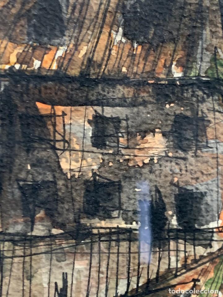 Arte: dibujo acuarela y tinta sobre papel firma montis 76 casas edificios tejados 58x50cms - Foto 21 - 219638771