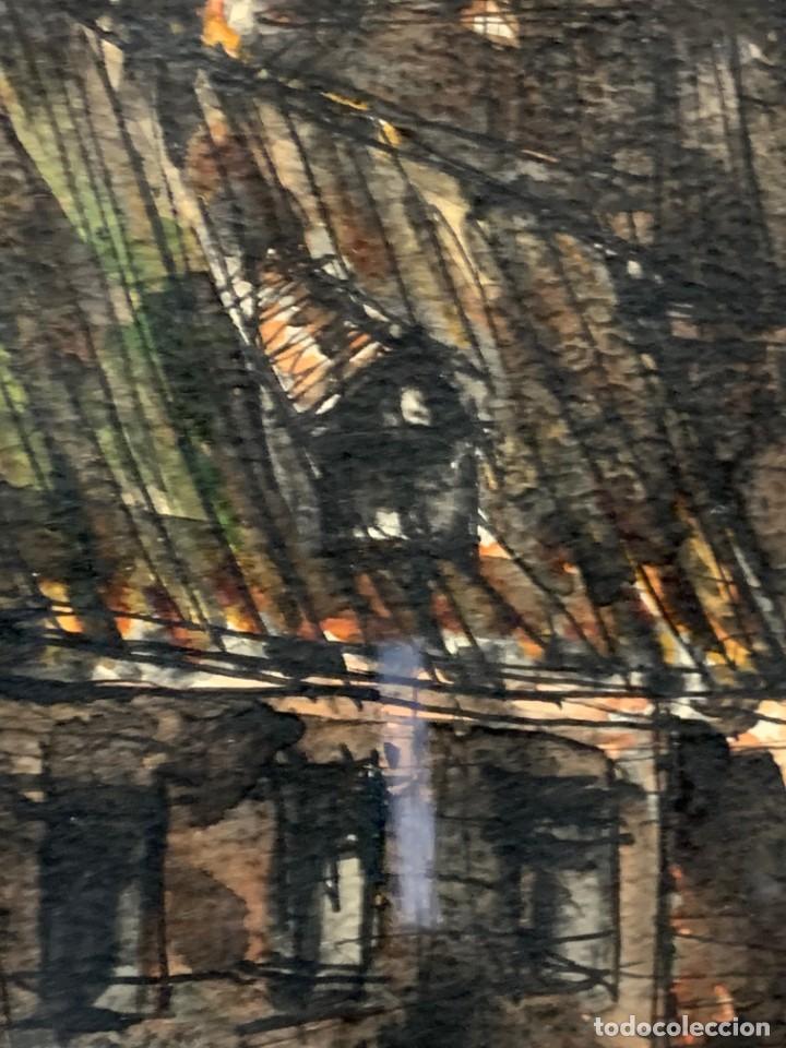 Arte: dibujo acuarela y tinta sobre papel firma montis 76 casas edificios tejados 58x50cms - Foto 22 - 219638771