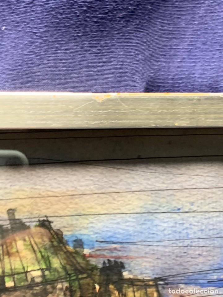 Arte: dibujo acuarela y tinta sobre papel firma montis 76 casas edificios tejados 58x50cms - Foto 25 - 219638771