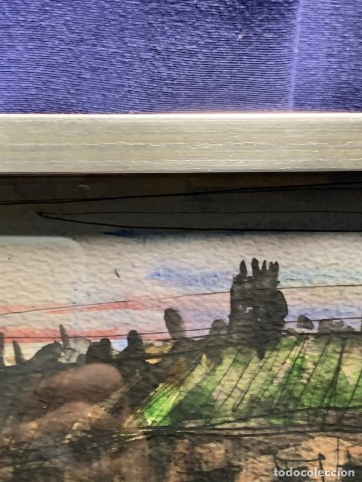 Arte: dibujo acuarela y tinta sobre papel firma montis 76 casas edificios tejados 58x50cms - Foto 26 - 219638771