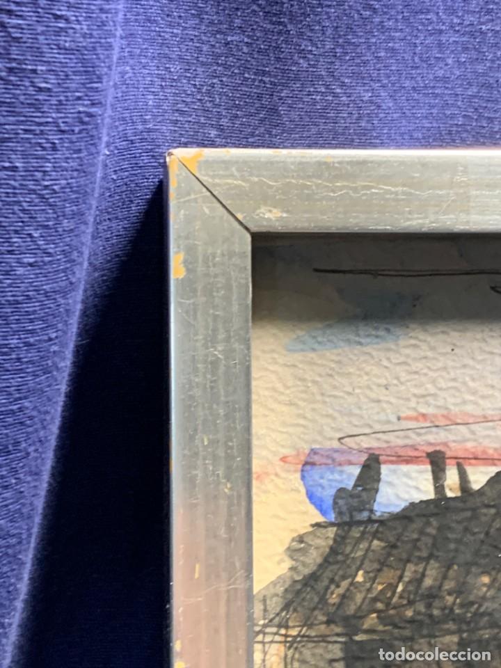 Arte: dibujo acuarela y tinta sobre papel firma montis 76 casas edificios tejados 58x50cms - Foto 27 - 219638771