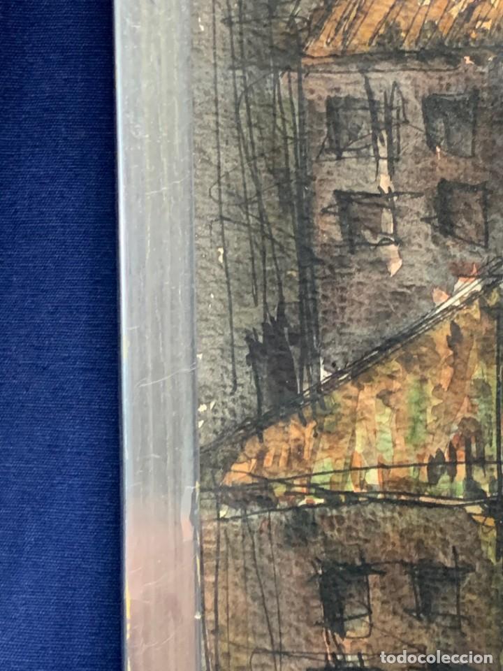 Arte: dibujo acuarela y tinta sobre papel firma montis 76 casas edificios tejados 58x50cms - Foto 28 - 219638771