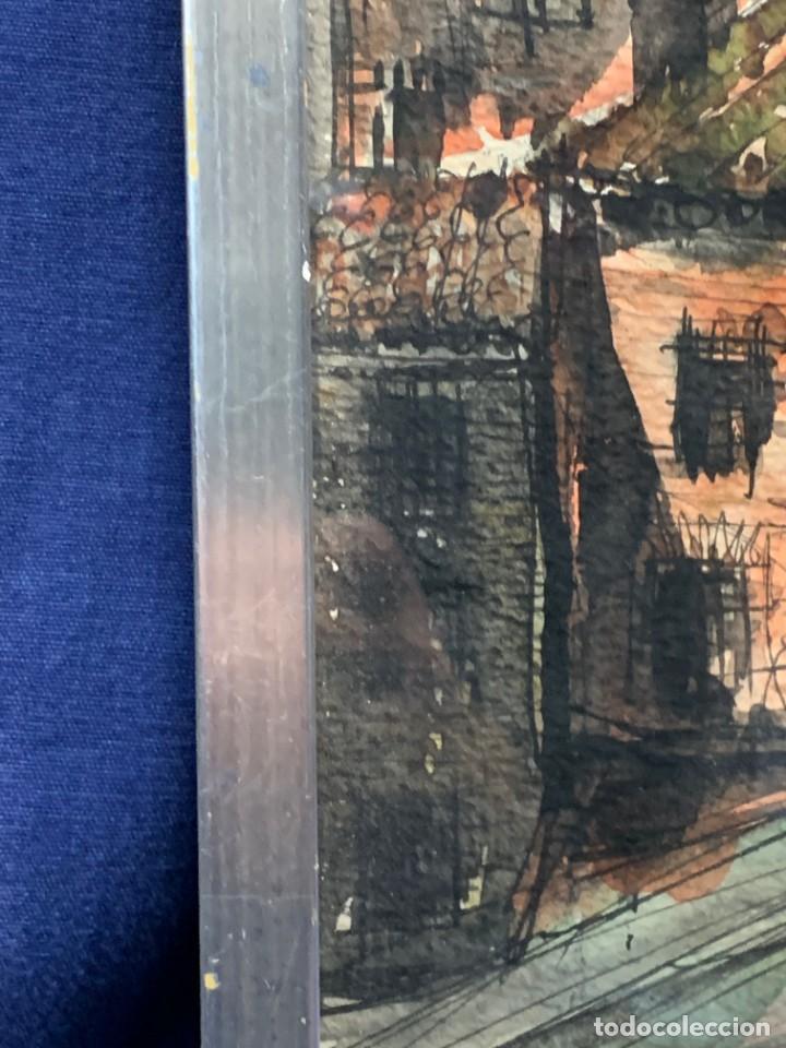 Arte: dibujo acuarela y tinta sobre papel firma montis 76 casas edificios tejados 58x50cms - Foto 29 - 219638771