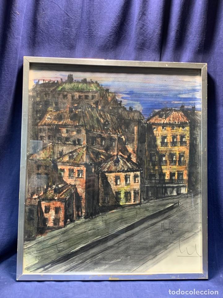 DIBUJO ACUARELA Y TINTA SOBRE PAPEL FIRMA MONTIS 76 CASAS EDIFICIOS TEJADOS 58X50CMS (Arte - Dibujos - Contemporáneos siglo XX)