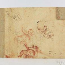 Arte: APUNTES SIGLO XVIII, ÁNGELES Y DIOS PADRE, DIBUJO EN LAS DOS CARAS DEL PAPEL. 31,5X20CM. Lote 219982065