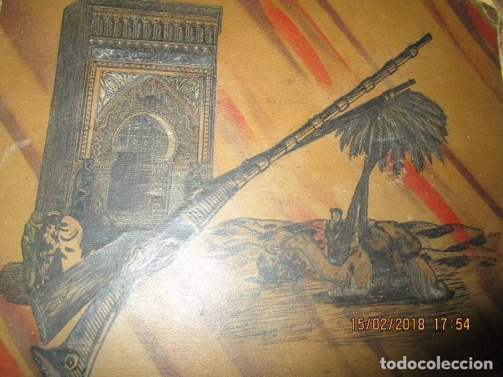 Arte: antigua pintura a plumilla de regulares en guerra civil portada de un album reverso escudo españa - Foto 2 - 220569797