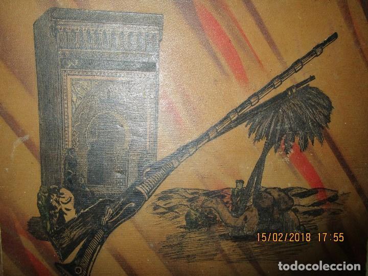 Arte: antigua pintura a plumilla de regulares en guerra civil portada de un album reverso escudo españa - Foto 3 - 220569797