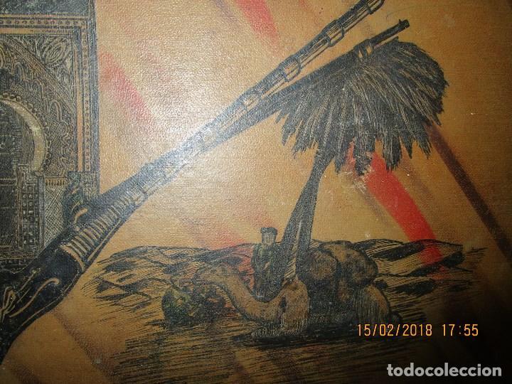 Arte: antigua pintura a plumilla de regulares en guerra civil portada de un album reverso escudo españa - Foto 5 - 220569797
