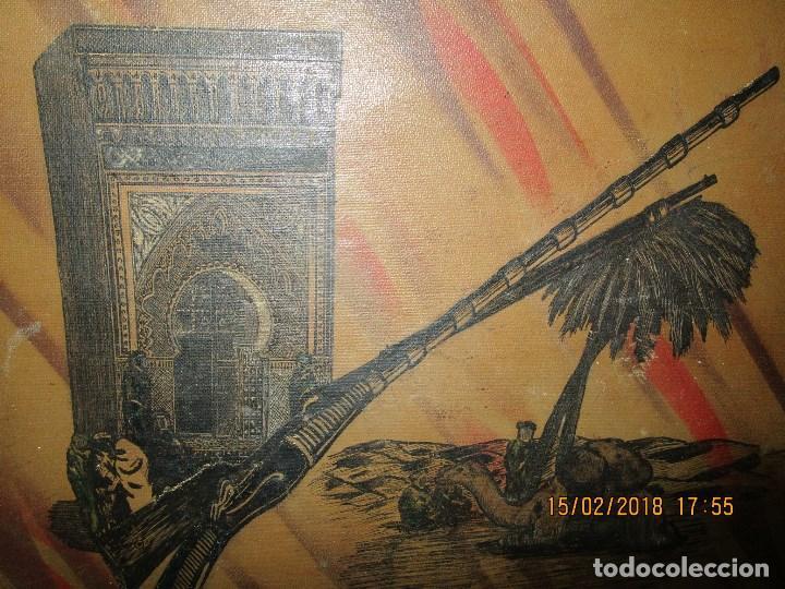 Arte: antigua pintura a plumilla de regulares en guerra civil portada de un album reverso escudo españa - Foto 6 - 220569797