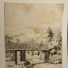 Arte: EL PONT D'EN SAVALLS, AMER, GIRONA. TINTA SOBRE PAPEL, JOSEP MESTRES GOMEZ. 1884. Lote 220622812