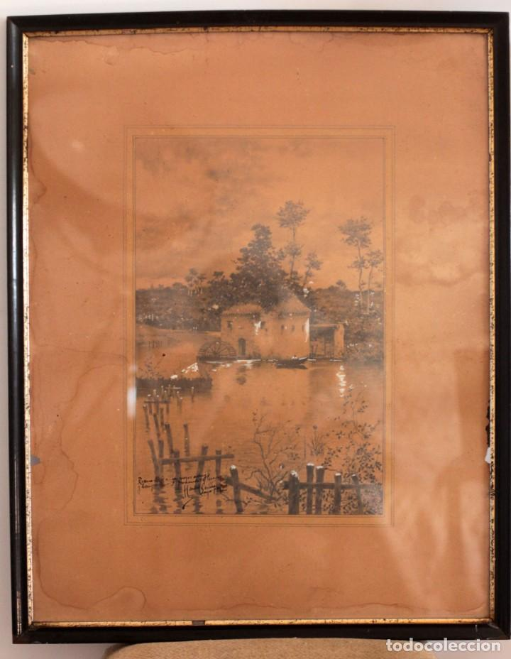 Arte: Manuel Osuna(S.XIX) tecnica mixta firmada, fechada y dedicada. Paisaje. Enmarcada 68x54cm Ppos s.XX - Foto 2 - 220663788