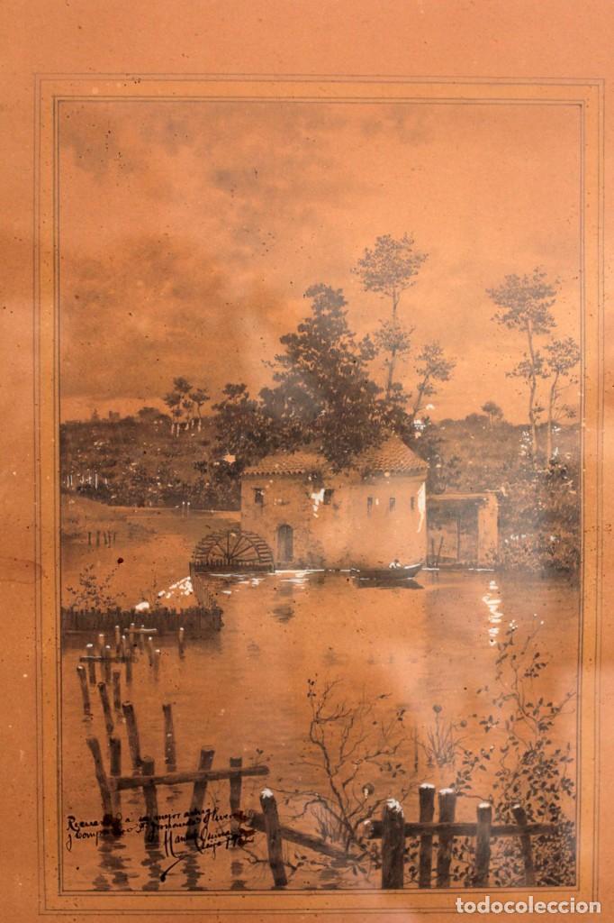 Arte: Manuel Osuna(S.XIX) tecnica mixta firmada, fechada y dedicada. Paisaje. Enmarcada 68x54cm Ppos s.XX - Foto 3 - 220663788