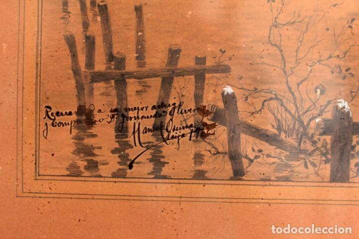 Arte: Manuel Osuna(S.XIX) tecnica mixta firmada, fechada y dedicada. Paisaje. Enmarcada 68x54cm Ppos s.XX - Foto 4 - 220663788