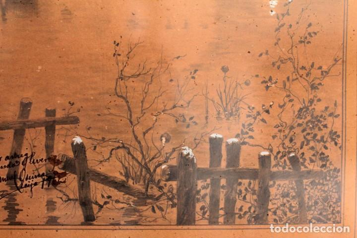 Arte: Manuel Osuna(S.XIX) tecnica mixta firmada, fechada y dedicada. Paisaje. Enmarcada 68x54cm Ppos s.XX - Foto 5 - 220663788