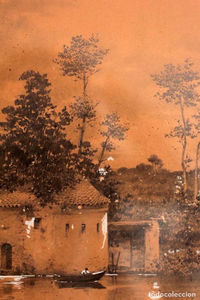 Arte: Manuel Osuna(S.XIX) tecnica mixta firmada, fechada y dedicada. Paisaje. Enmarcada 68x54cm Ppos s.XX - Foto 7 - 220663788