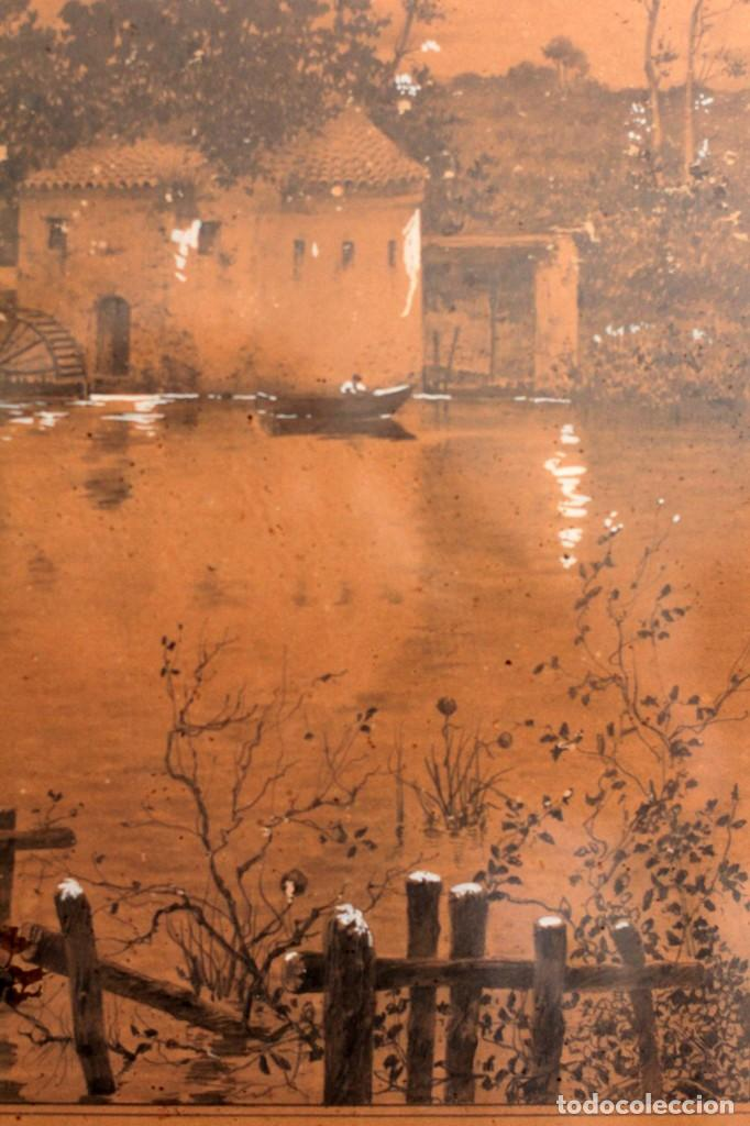 Arte: Manuel Osuna(S.XIX) tecnica mixta firmada, fechada y dedicada. Paisaje. Enmarcada 68x54cm Ppos s.XX - Foto 8 - 220663788