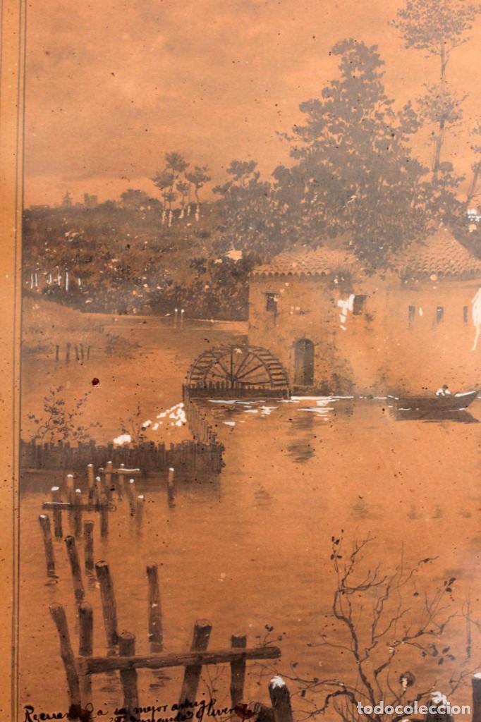 Arte: Manuel Osuna(S.XIX) tecnica mixta firmada, fechada y dedicada. Paisaje. Enmarcada 68x54cm Ppos s.XX - Foto 9 - 220663788