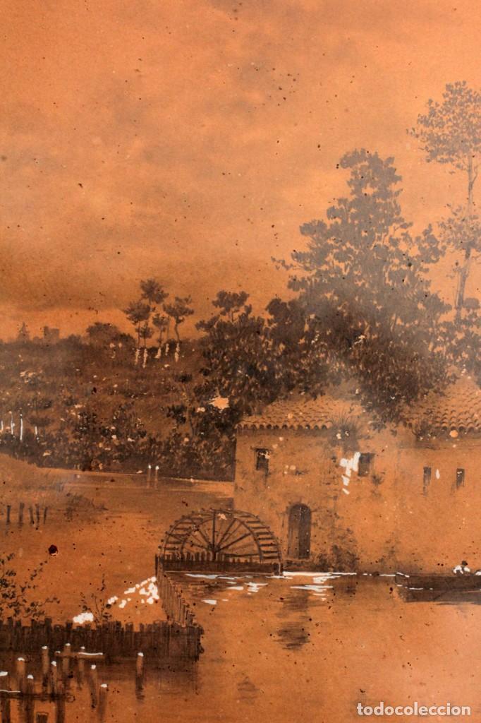 Arte: Manuel Osuna(S.XIX) tecnica mixta firmada, fechada y dedicada. Paisaje. Enmarcada 68x54cm Ppos s.XX - Foto 10 - 220663788