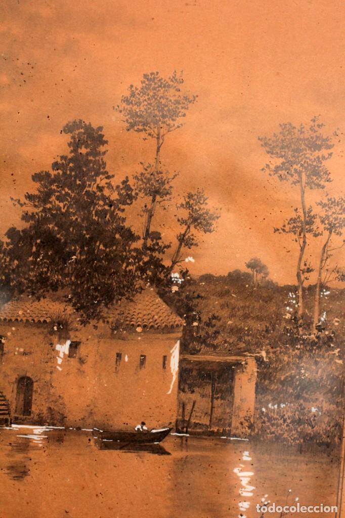 Arte: Manuel Osuna(S.XIX) tecnica mixta firmada, fechada y dedicada. Paisaje. Enmarcada 68x54cm Ppos s.XX - Foto 11 - 220663788