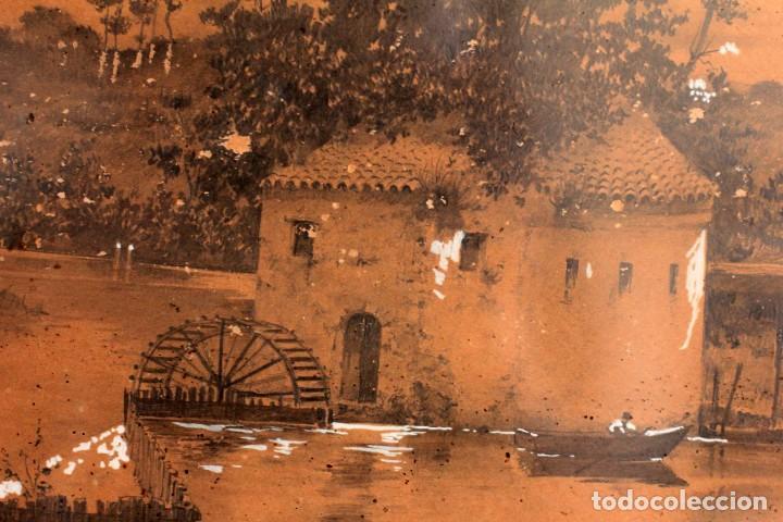 Arte: Manuel Osuna(S.XIX) tecnica mixta firmada, fechada y dedicada. Paisaje. Enmarcada 68x54cm Ppos s.XX - Foto 12 - 220663788