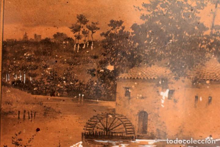Arte: Manuel Osuna(S.XIX) tecnica mixta firmada, fechada y dedicada. Paisaje. Enmarcada 68x54cm Ppos s.XX - Foto 13 - 220663788