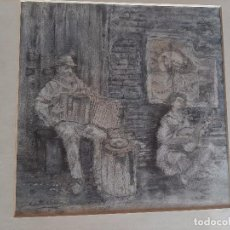 "Arte: PINTOR VICENTE ALONSO. ALBORAYA, VALENCIA. DIBUJO A LAPIZ Y CERAS. FIRMADO. "" MUSICOS AMBULANTES"". Lote 221119838"
