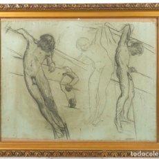 Arte: DIBUJO AL CARBONCILLO ESTUDIO DESNUDO MASCULINO. Lote 221602291