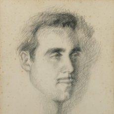Arte: DIBUJO AL CARBONCILLO RETRATO HOMBRE FIRMADO PEDRO LLITAR 1954. Lote 221602302
