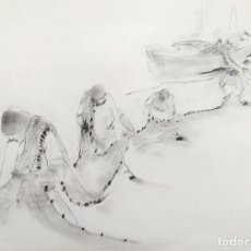 Arte: PESCADORES REMENDANDO REDES. CARBONCILLO SOBRE PAPEL. FIRMADO. ESPAÑA. SIGLO XX. Lote 221655063