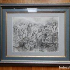 Arte: DIBUJO A CARBONCILLO, FIRMADO MORÁN GENÉ, FECHADO 71, ENMARCADO CON CRISTAL Y PASPERTÚ.. Lote 221702585