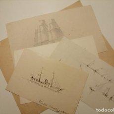 Arte: COLECCIÓN DE DIBUJOS DEL DOCTOR EMILIO SANCHIS MARCO. BARCOS Y VELEROS CA 1895. Lote 221711195