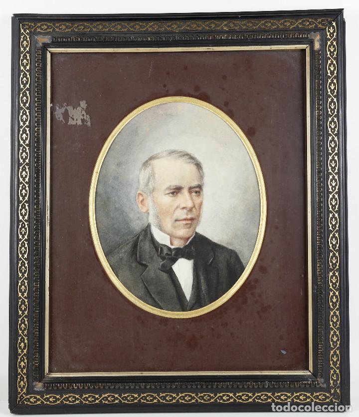 Arte: Dibujo de personaje por identificar, siglo XIX. Marco: 35x42 cm. Dibujo: 18x22 cm. - Foto 2 - 221713352