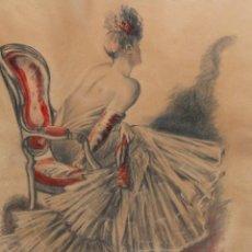 Arte: GUILLEM PERES I PAQUE (BARCELONA 1893 - 1968) SEÑORITA DE ESPALDAS - TECNICA MIXTA - 67 X 52 CM.. Lote 221766786