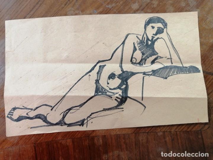 ANONIMO. TECNICA MIXTA SOBRE PAPEL. DESNUDO (Arte - Dibujos - Contemporáneos siglo XX)