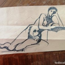 Arte: ANONIMO. TECNICA MIXTA SOBRE PAPEL. DESNUDO. Lote 221867813