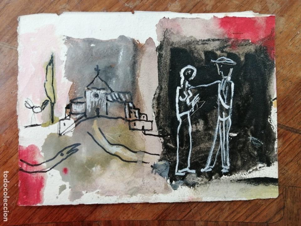 ANONIMO. TECNICA MIXTA SOBRE PAPEL. PAISAJE CON FIGURAS (Arte - Dibujos - Contemporáneos siglo XX)