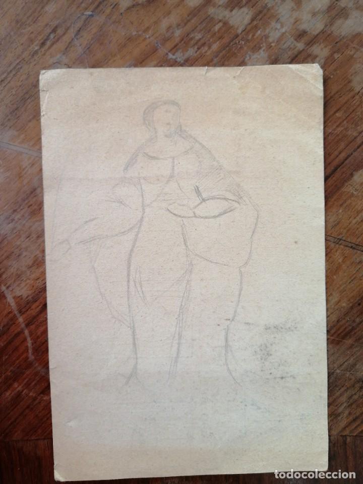 ANONIMO. DIBUJO A LAPIZ. CAMPESINA (Arte - Dibujos - Contemporáneos siglo XX)