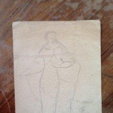 Arte: ANONIMO. DIBUJO A LAPIZ. CAMPESINA. Lote 221869110