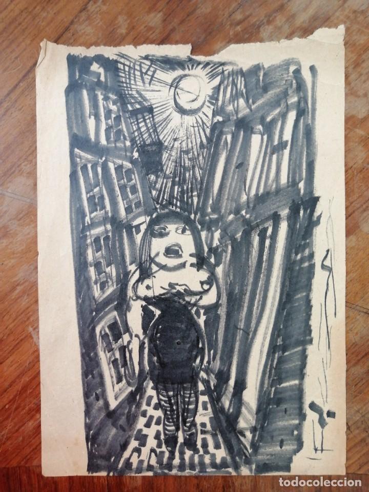 ANONIMO. TECNICA MIXTA SOBRE PAPEL. PERSONAJE (Arte - Dibujos - Contemporáneos siglo XX)