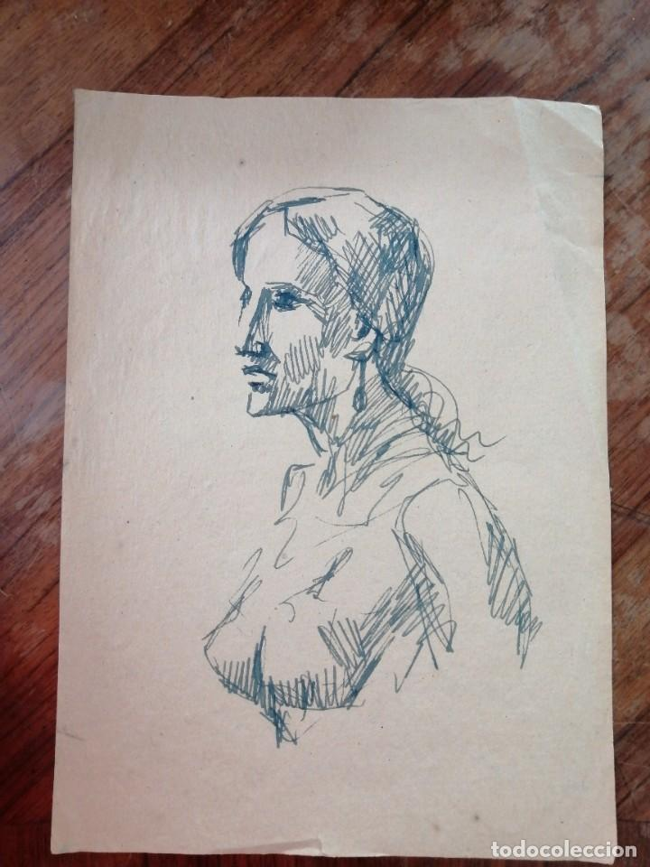 ANONIMO. DIBUJO A TINTA. RETRATO FEMENINO (Arte - Dibujos - Contemporáneos siglo XX)
