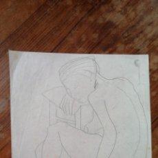 Arte: ANONIMO. DIBUJO A LAPIZ. DESNUDO FEMENINO. Lote 221874560