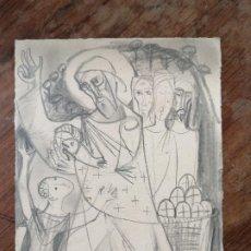 Arte: JORDI SAMSO. DIBUJO A CARBON. ESCENA BIBLICA. Lote 221876263
