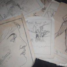 Arte: LOTE 12 DOCE DIBUJOS FIRMADO MARÍA PICAZO PRECIOSOS ANTIGUOS 1937 CARAS PAISAJE ESTUDIO. Lote 222085835