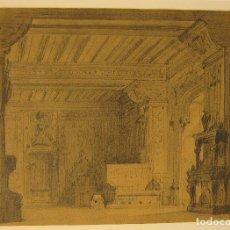 Arte: FRANCESC SOLER I ROVIROSA. ESCENOGRAFIA. 1871. LAPIZ, TINTA Y AGUADA. 14,5 X 20 CM. Lote 222198037