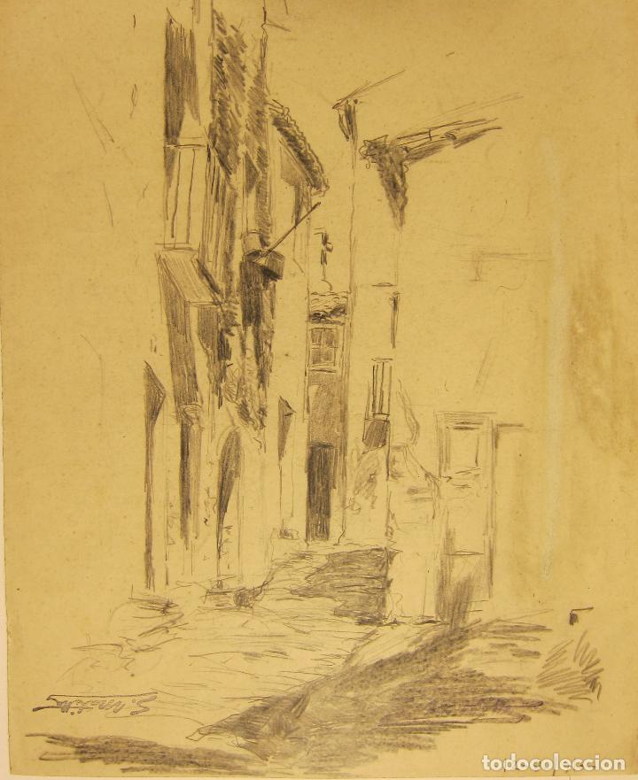 Arte: SEGUNDO MATILLA. CALLEJÓN. 1910. DIBUJO A LÁPIZ. 30,5 x 25 cm - Foto 2 - 222317221