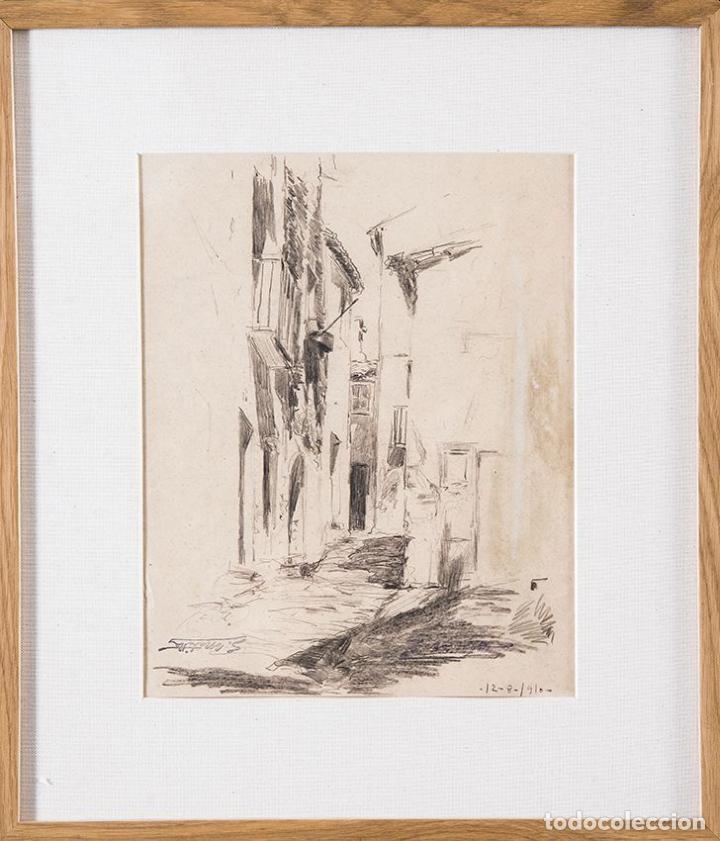 SEGUNDO MATILLA. CALLEJÓN. 1910. DIBUJO A LÁPIZ. 30,5 X 25 CM (Arte - Dibujos - Modernos siglo XIX)