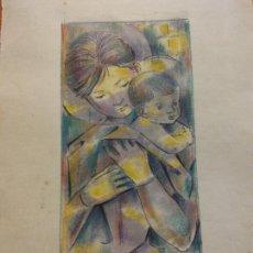 Art: ORIGINAL. OBRA DE FRANCESC GASSÓ. MUJER Y NIÑO. MEDIDAS 15*21 CM.. Lote 222343285