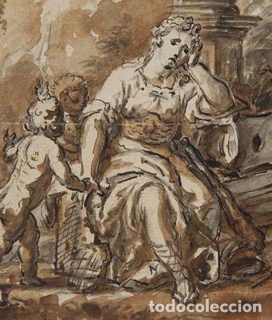 Arte: LAMENTO DE DIDO. AL DORSO MONTAÑAS DE MONTSERRAT. 1771. AGUADA MARRON Y TINTA. 14 X 18,5 CM - Foto 3 - 222349713