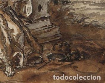 Arte: LAMENTO DE DIDO. AL DORSO MONTAÑAS DE MONTSERRAT. 1771. AGUADA MARRON Y TINTA. 14 X 18,5 CM - Foto 4 - 222349713